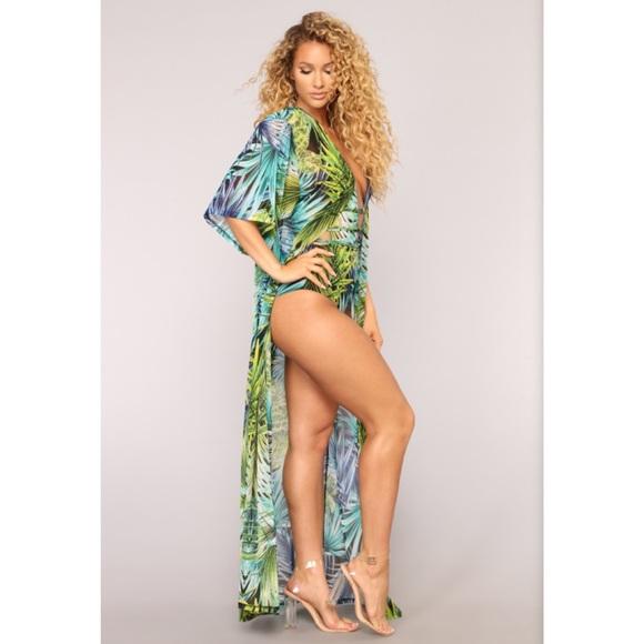 1d6331b49f Fashion Nova Swim   Tropical Onepiece Bathing Suit Kimono Set   Poshmark